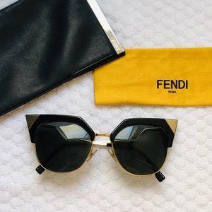 Fendi Cat Eye Black & Gold Sunglasses